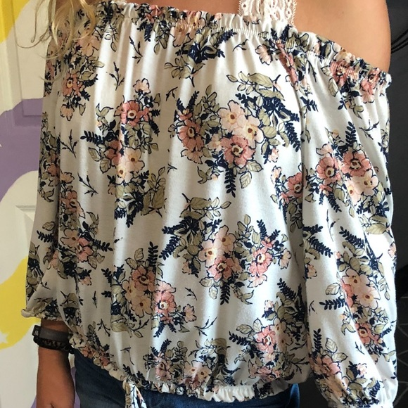 Free Kisses Tops - long sleeve white flowery off the shoulder top